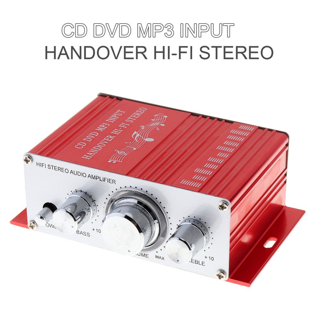 KENTIGER 20W Red Hifi Mini Digital Auto Car Amplificador Motorcycle Auto Car Stereo Power Amplifier Sound Mode Audio Support DVD