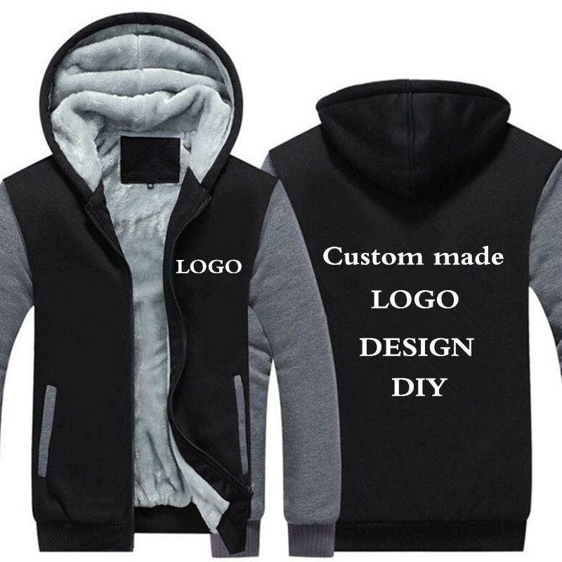Drop shipping USA Size Men Hoodies, Sweatshirts Personalized Customized LOGO Printed Design DIY Men's Custom made <font><b>Jackets</b></font> Coats