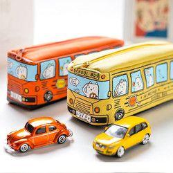 Kawaii Creative School Bus Pencil case Large Capacity Cartoon Animal Canvas Pencil Bag Box School Supplies estojo escolar 04972