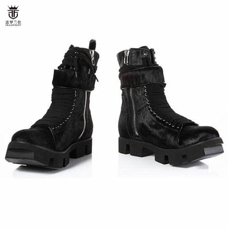 2018 FR.LANCELOT Brand Design Winter Black Flock Horsehair Fur Top Quality Cool Men Boots Platform Thick Heel Cool Men Shoes