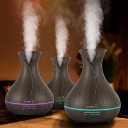 EASEHOLD 400ml Aroma Essential Oil Diffuser Ultrasonic Air Humidifier With Wood Grain 7 Color Changing LED Lights Electric Work