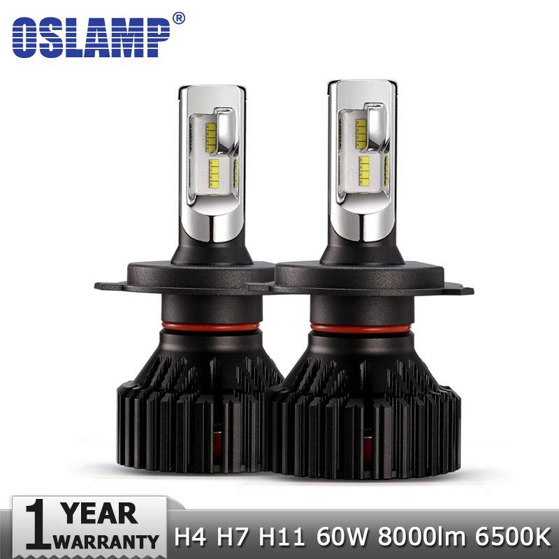 Oslamp H4 Hi lo Beam H7 H11 LED Car LED Headlight Bulbs ZES Chips 60W 8000LM 6500K Auto Led Headlamp Fog Lamp Car Light 12v 24v