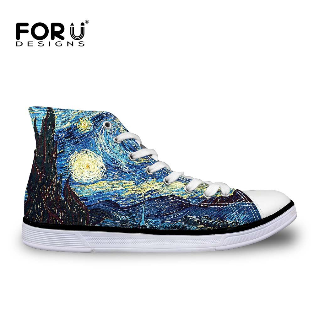 FORUDESIGNS Classic Women Vulcanized Shoes Fashion Hand Paint Art Design Starry Night High Top Canvas Shoes Female Galaxy Flats