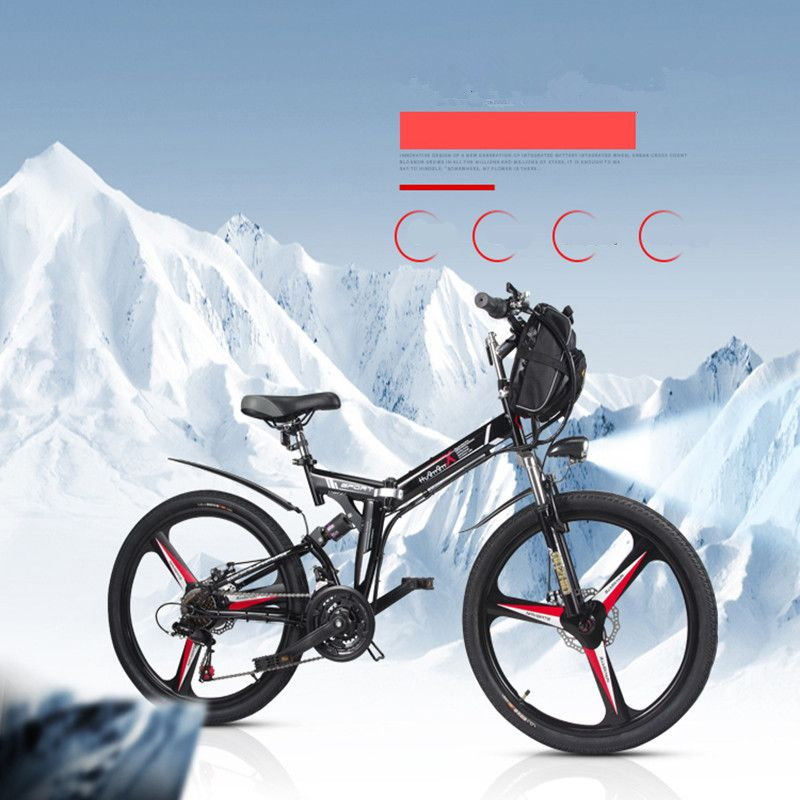 26 inch electric bicycle 48V.10.8AH lithium battery electric mountain bike integrated wheel 350W electric folding bicycle