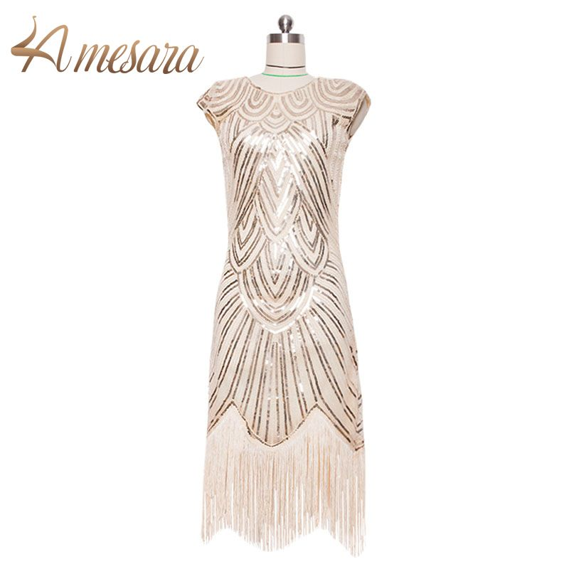 Frauen 1920 s Fransen Great Gatsby Flapper Kleid Retro Quaste Häkeln Midi Party Kleid-59002