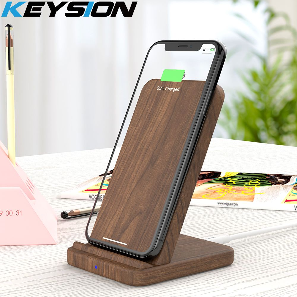 KEYSION 10W Wooden Qi Wireless Charger for iPhone XR XS Max 8Plus Xiaomi mi 9 fast Wireless Charging Stand for Samsung S10 S9 S8