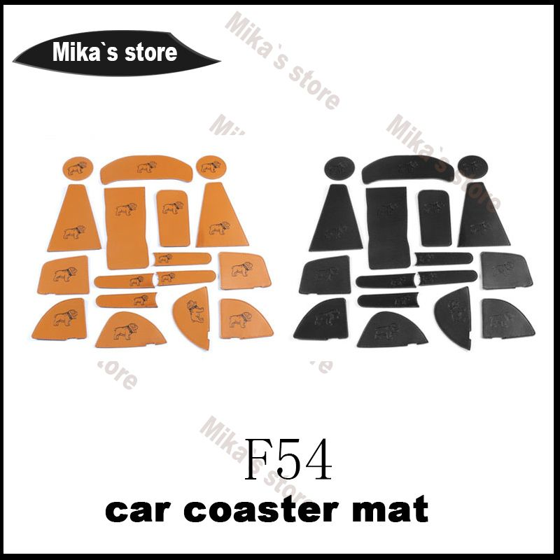 NEW PU coaster mats sticker For mini cooper F54 CLUBMAN car-styling  Car Cup Coaster Mats sticker Stickers Accessories (1 set)