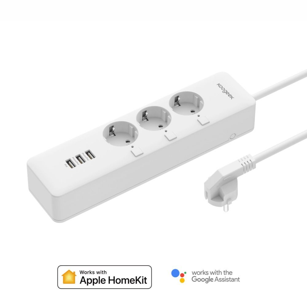 Koogeek Smart Outlet Individually Controlled Wi-Fi Outlet Power Strip with 3 USB Charging Ports for Apple HomeKit Remote Control