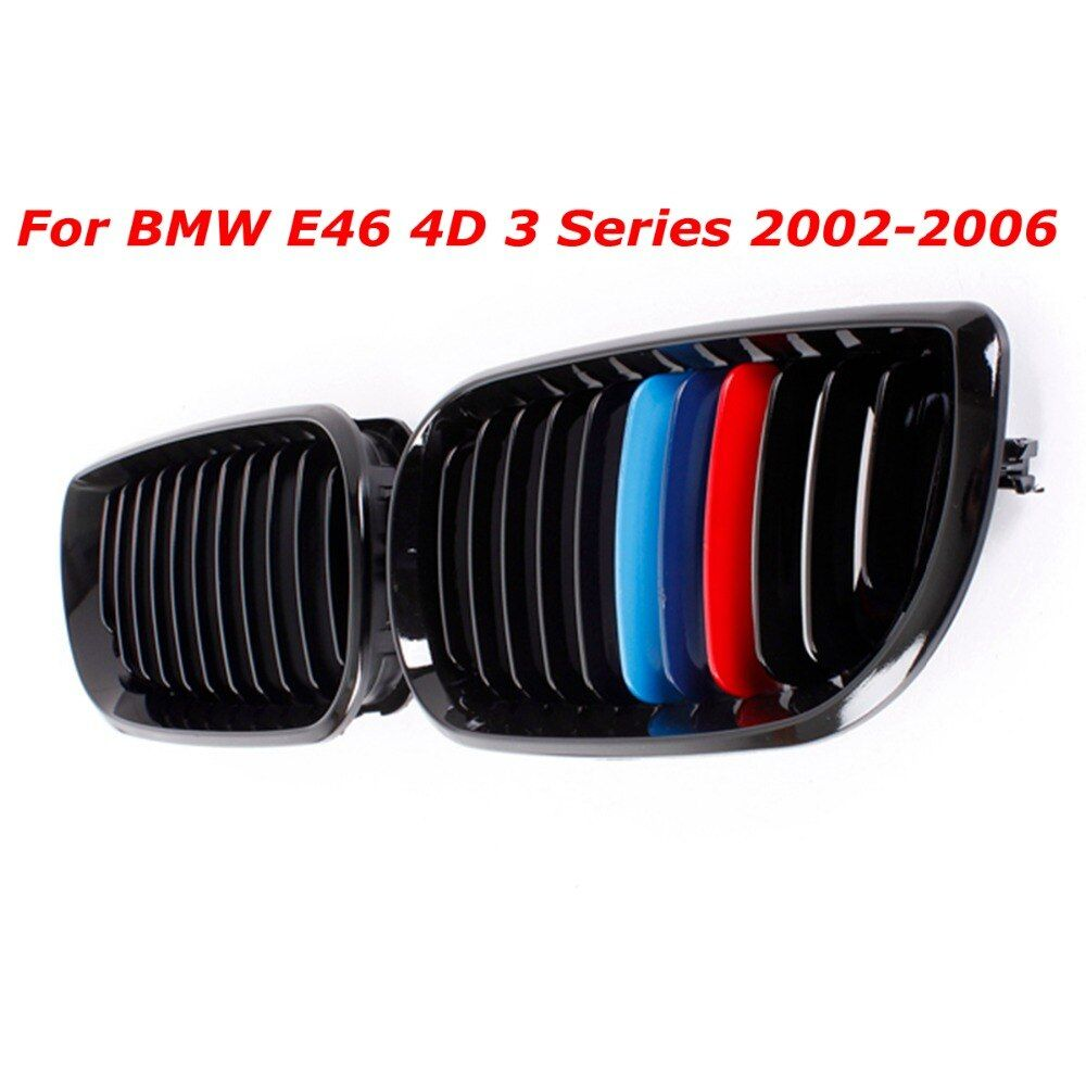 1Pair Car M-color Front Grill Gloss Black Kidney Grille Grill For BMW E46 Touring/Saloon 4Door 3 Series 2002 2003 2004 2005