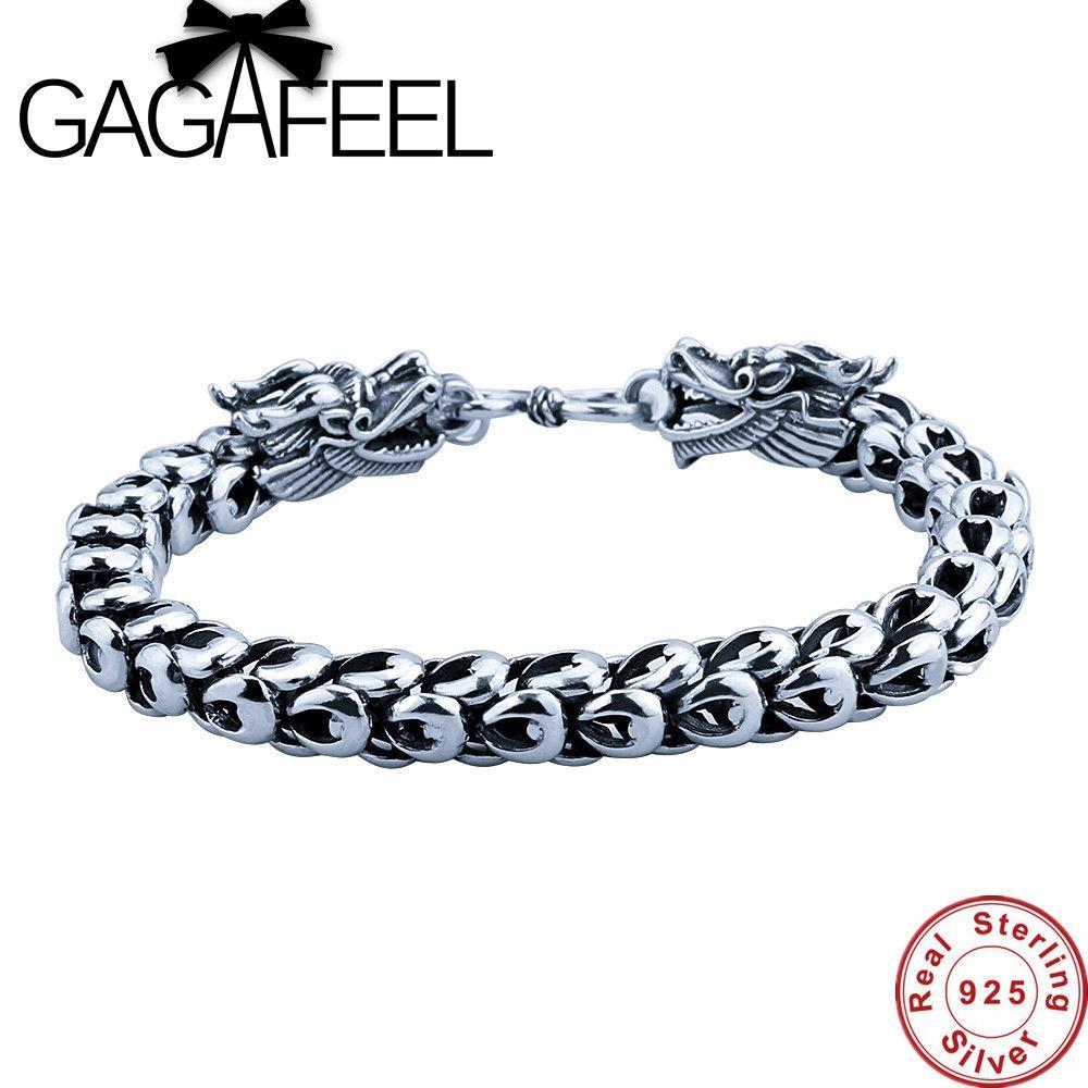 GAGAFEEL Bracelet Pour Hommes Sterling-Argent-Bijoux Réel 925 Thai Argent Cool Dragon Lien Dragonscale Chaîne 19-22 CM S Fermoir Cadeaux
