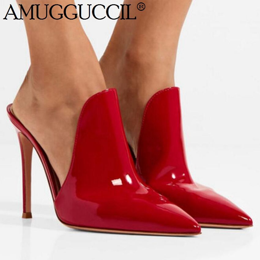 2019 New Plus Big size 35-47 Black Red Fashion Sexy High Heel Female Lady Women Mules Shoes Summer Pumps Slippers L1058