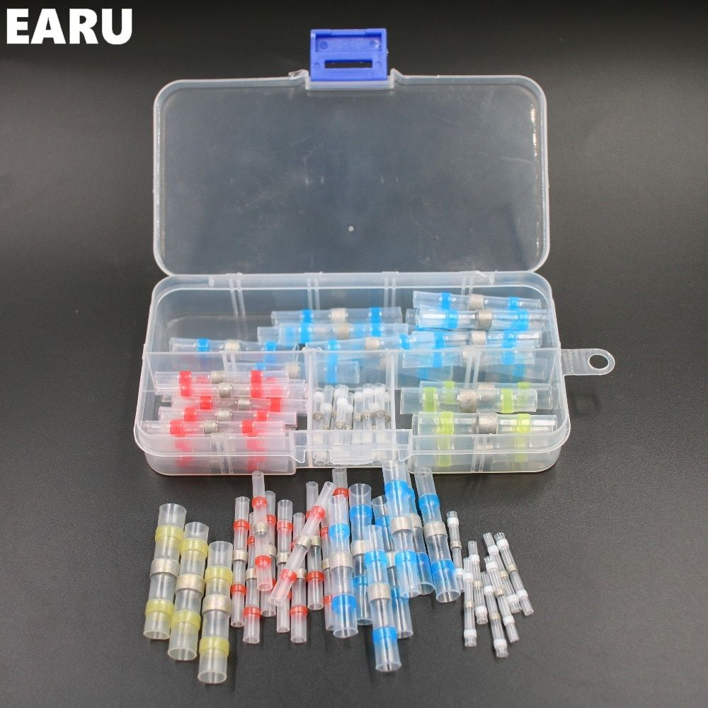 50pcs New Heat Shrink Solder Sleeves Cable Wire Crimp Butt Terminals Connectors with Box Kit 1.5-6.0mm Quick Connect Connector