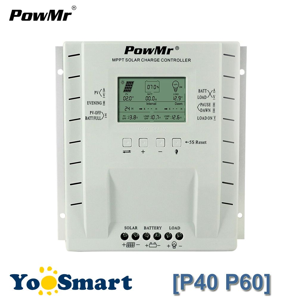 PowMr 40A 60A MPPT PV Charge And Discharge Solar Controller 12V 24V Battery Regulator Solar Panel System 100V 780W/1560W Input