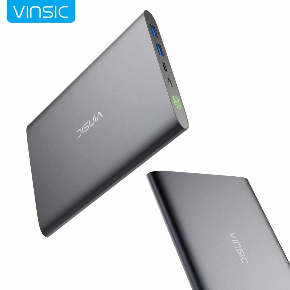 Vinsic 20000mAh 3A Type C Power Bank Dual Port USB Smart Charging External Battery Pack Portable Charger for Samsung iPhone X/8+