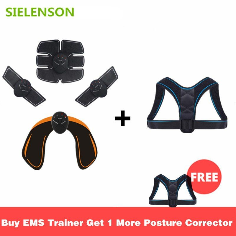 EMS Electric Muscle Stimulator Buttocks Abdominal ABS Stimulator Fitness Trainer Body Slimming Massager with Posture Corrector