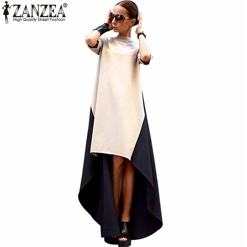 2018 ZANZEA Printemps D'été Dames À La Mode Col Roulé Irrégulière Ourlet Patchwork Robe Femmes Maxi Robes Longues Robes Plus La Taille