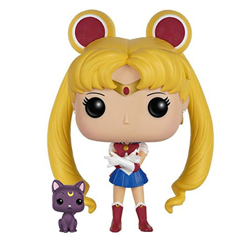 Funko POP Sailor Moon & cute Luna PVC toys doll Action Figure Collectible Model toys for chlidren birthday Gift
