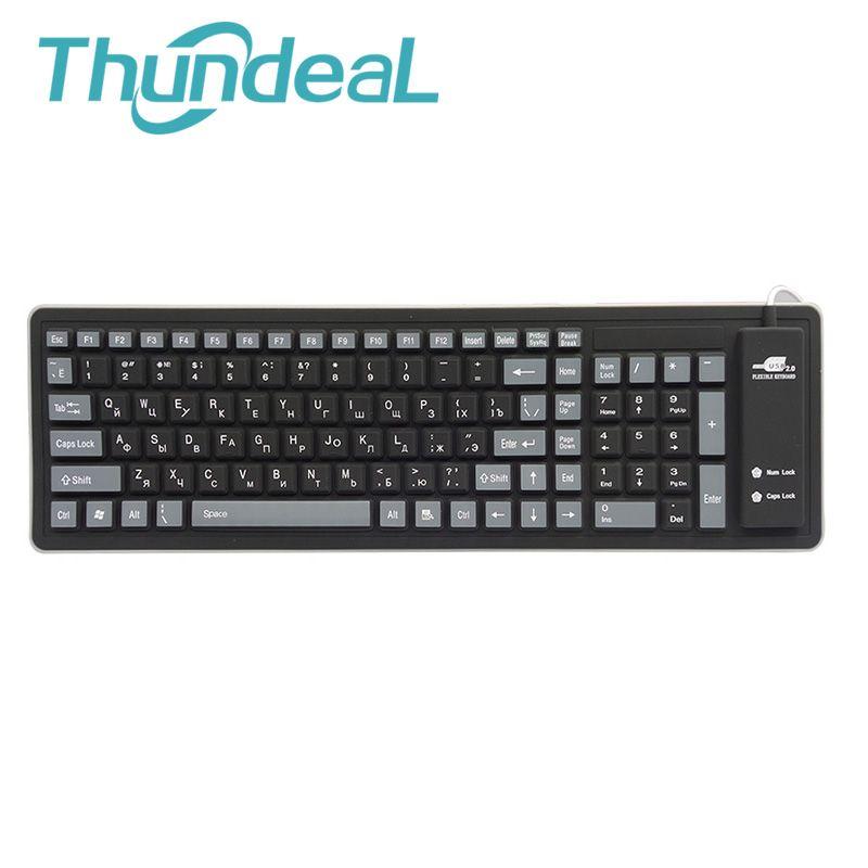 103keys Russian Keyboard Letters Wire USB Interface Silicon Teclado Layout Russian Version Keyboards Teclado PC Desktop Laptop