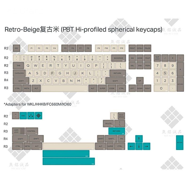 Retro Beige 134 KEYS SA PBT Keycap dye subbed Keycap Cherry MX switch keycaps for Wired USB Mechanical Gaming keyboard