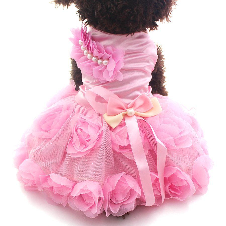 Pet Chien Princesse Robe Tutu Rosette et arc Robes Chat Chiot Jupe Printemps/Vêtements D'été Vêtements 2 couleurs