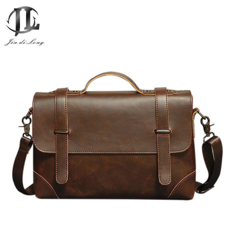 2019Fashion Briefcase Men Messenger Bag Office Women Vintage PU Crazy Horse Leather Business Laptop Document Case Portfolio Bag
