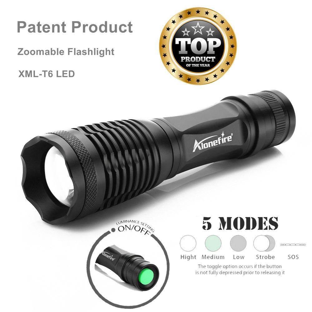 AloneFire E007 Lanterna CREE XML-T6 3800LM Taktische Taschenlampe Zoom Linternas LED-TASCHENLAMPE Fahrrad Frontscheinwerfer