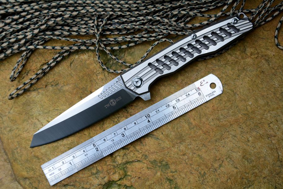 TWOSUN TS-16 Flipper folding knife D2 Satin blade ceramic ball bearing washer TC4 handle outdoor <font><b>camping</b></font> hunting pocket kni