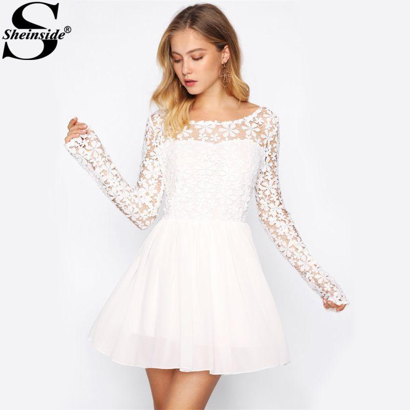Sheinside Hollow Out Crochet Panel V Back Swing Dress Boat Neck Long Sleeve Short Women Dress 2017 Elegant Party Dress