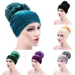 Musulman Turban Pleuche Preal Forage Cap Hijab Chapeaux de Chapeau Arabe Doux Fleur Baggy Écharpe Wrap Bonnet Chapeau