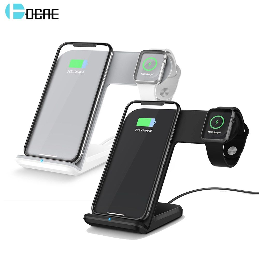 DCAE 2 in 1 Wireless Charger for apple watch i watch 2 3 Type C Port Fast Wireless Charging for iphone X 8 Plus Samsung S9 S8 S7