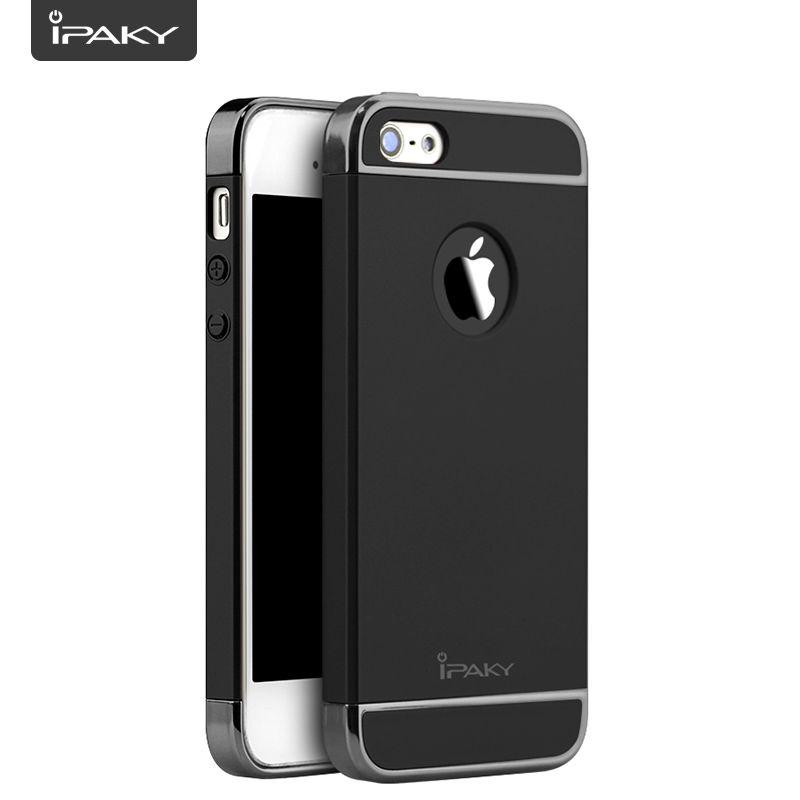 IPAKY pour iPhone 5 S étui 3 en 1 électroplate absorption des chocs cadres PC mat couverture arrière pour iPhone 5/5SE étui Fundas Capa