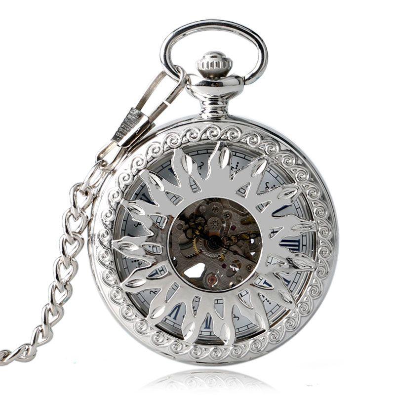 Self-ветер прохладный Автоматические Механические карманные часы Защита от солнца цветок Дизайн Мода Серебряный Медсестра часы Скелет Кулон...