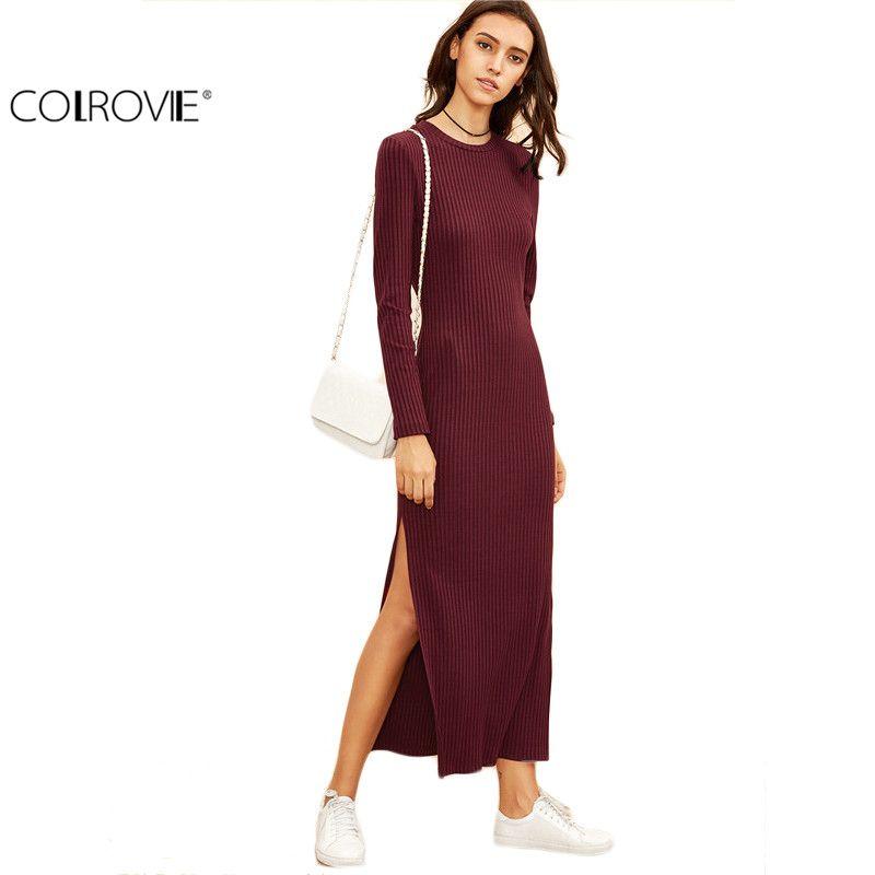 COLROVIE Winter Dresses for Women European <font><b>Style</b></font> Women Fall Dresses Burgundy Knitted Long Sleeve High Slit Ribbed Dress