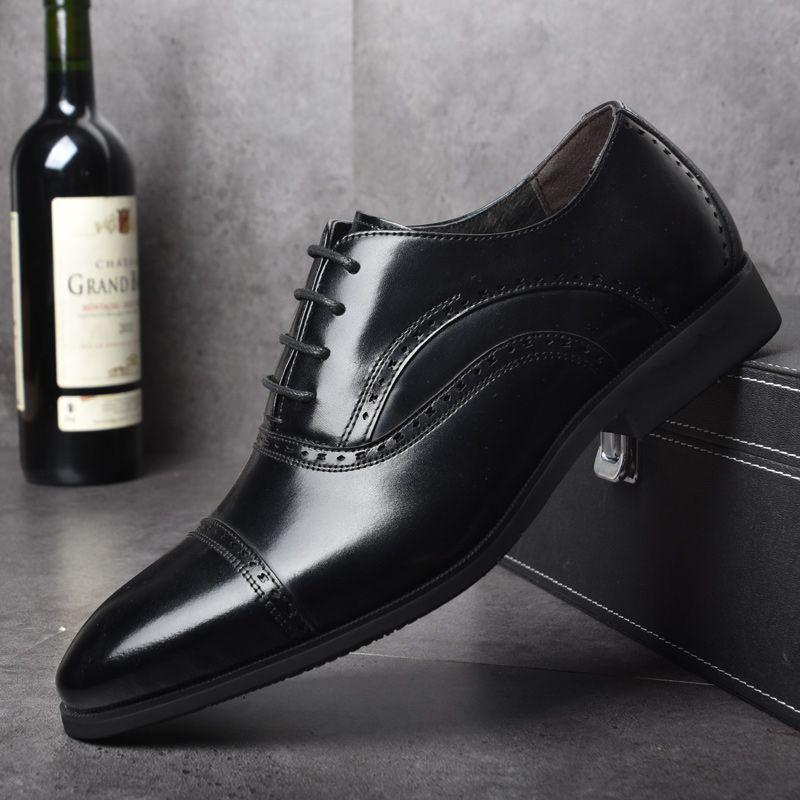 OSCO Brock gravé décontracté chaussures en cuir véritable hommes Oxfords robe chaussures de mariage mâle britannique respirant chaussures pointues