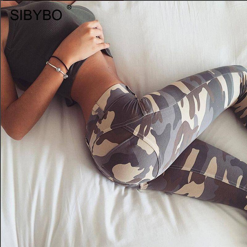 JULISSA MO Camouflage Print Bodycon Pencil Pants Women 2018 Autumn Sexy Low Waist Skinny Women Legging Casual Club Pant Trousers