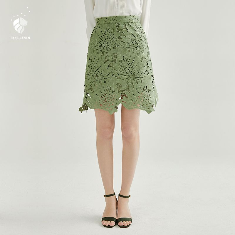 FANSILANEN 2018 New Arrival Fashion Summer/Spring Women Lace Skirts Casual A-line Solid Skater skirt Hollow Out Z82027