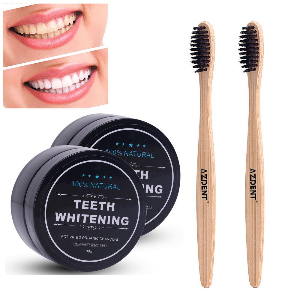 Nouveau 30g Activé Fusains Poudre + Bambou brosse à dents à charbon Poudre de Blanchiment des Dents Ensemble Naturel Organique Dentifrice Végétalien Menthe