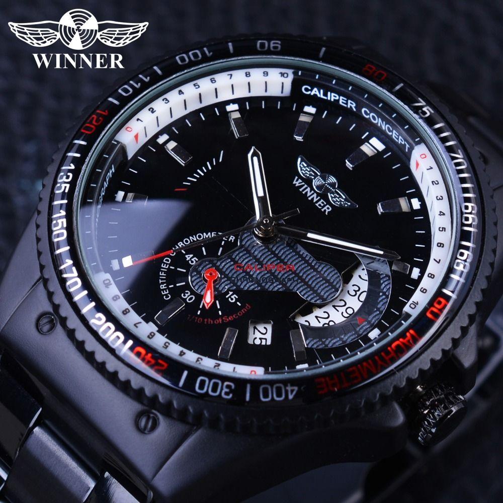 Ganador 2017 Racing diseño negro de acero inoxidable Calendarios display mens relojes Top marca de lujo mecánico automático reloj