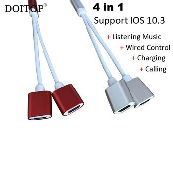 DOITOP 4 in 1 Audio Charger Charging Calling Music Cable Adapter Converter for iPhone 7 6 Plus Music Phone Call Support IOS 10.3