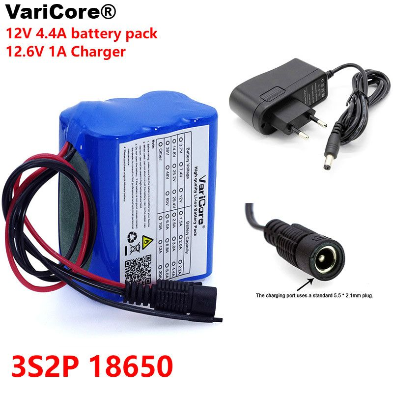 VariCore 12 v 4.4 Ah 4400mAh <font><b>18650</b></font> Rechargeable batteries 12V with BMS Lithium Battery pack Protection Board +12.6V 1A Charger