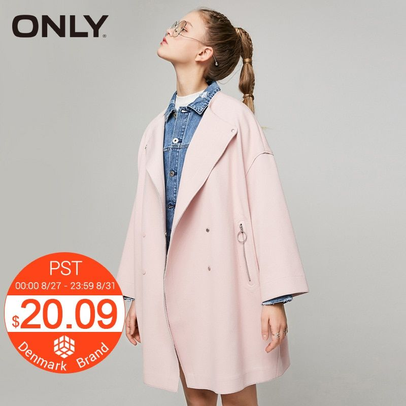 ONLY Brand 2018 NEW all-match slim dropped shoulders wide sleeves midium style female overcoats 117136534