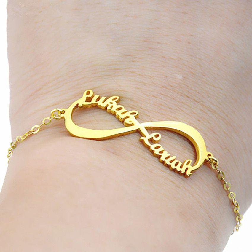 Breloques personnalisé Infinity nom Bracelet personnalisé amant bracelets pour femme enfants cadeaux d'anniversaire bijoux chaîne en acier inoxydable