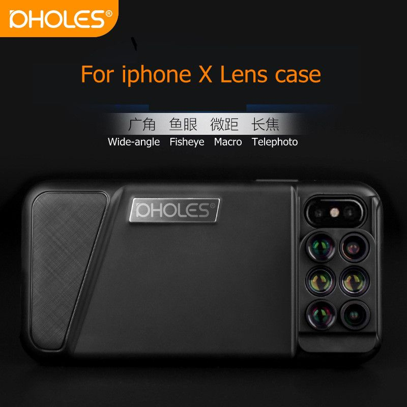 PHOLES 6-in-1 Dual Optics Phone Lens 160 Degree Fisheye Lens+110 Degree Wide Angle+10x Macro Lens for iPhoneX phone lens Case