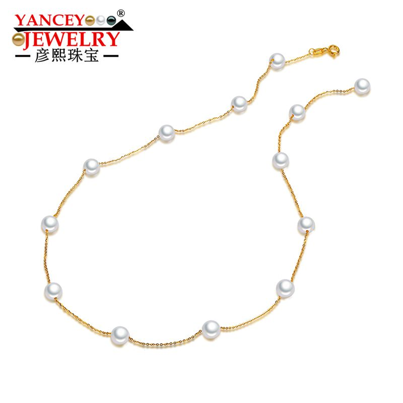 YANCEY JEWELRY Stars round pearls, bright luster, fashion elegant freshwater pearl necklace lady, 18k gold, clavicle chain