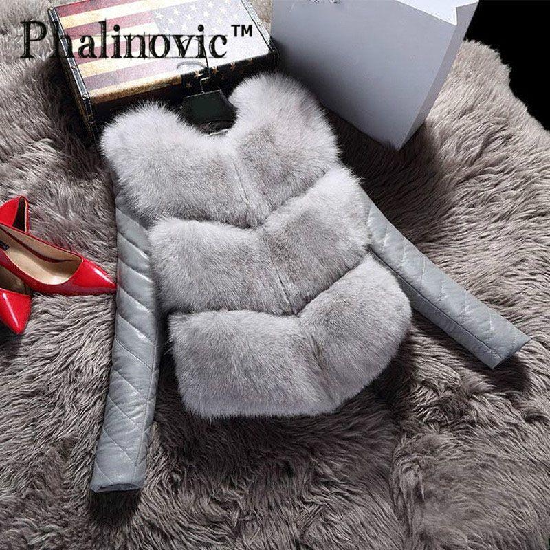 Phalinovic 2019 Fashion Autumn Winter <font><b>Coat</b></font> Thick Warm Women Faux Fox Fur Vest High-Grade Jacket Colete Feminino Plus Size 3XL