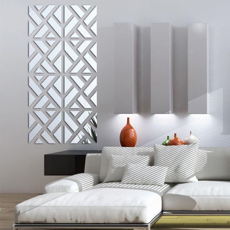Nouveau mur autocollants grand 3d Décoratif autocollants maison de vie moderne acrylique grand miroir motif surface diy réel