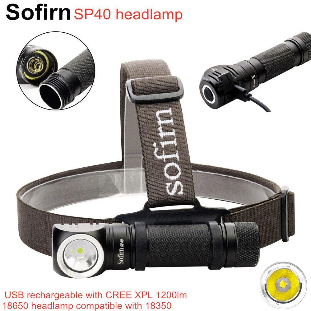 Sofirn SP40 LED lampe frontale Cree XPL 1200lm 18650 USB Rechargeable phare 18350 lampe de poche 4 Modes avec mémoire indicateur de puissance
