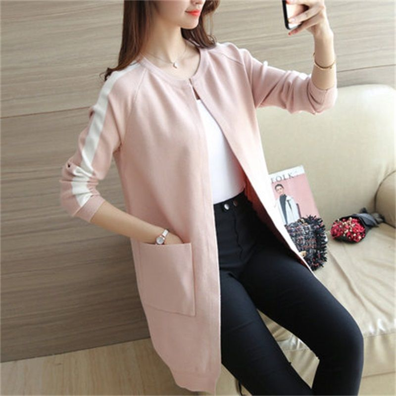 2017 Spring Cashmere Cardigan Female Medium-Long Wool Sweater Loose Long-sleeve Plus Size sweater