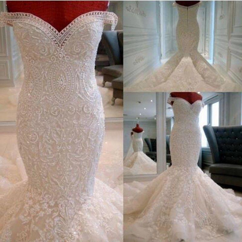 Bridal Dresses vestidos de noiva Casamento Beaded Mermaid Long Bridal Gowns 2018 robe de mariee Crystals Wedding Dress Luxury
