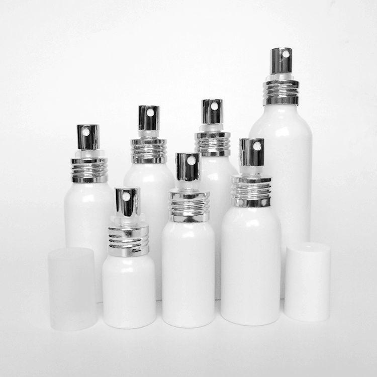 50pcs 20/30/50/60/80/100/150ml Aluminum white empty spray bottle Fine Mist Refill cosmetic spray jar Sample subpackage bottles